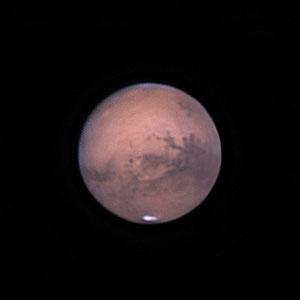 Mars le 18 octobre 2020. Télescope Schmid/Cassegrain 203/2000 mm, caméra ZWO 385MC, Barlow 2,5 X, CDA, filtre IR cut