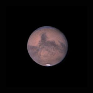 Mars le 30 septembre 2020. Télescope Maksutov/Cassegrain 180/2700 mm, caméra ZWO 385MC, Barlow 2,5 X, CDA, filtre IR cut