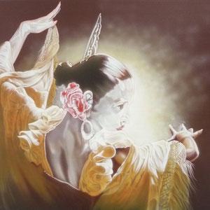 Airbrush auf Leinwand Masse B 90 cm x H 80 cm x T 2 cm