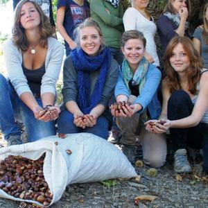 Elles ont ramassé une trentaine de kilos de châtaigne qui seront transformées en une dizaine de kilos de farine au moulin des frères Vincensini de San Lorenzo