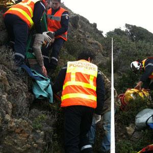 Très affaiblie la victime est prise en charge par les pompiers du CSP de L'Ile-Rousse