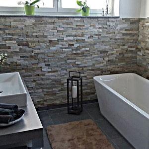 Natursteinverblender im Bad oder Wohnraum