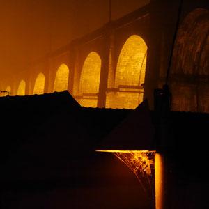 Bretagne Morlaix viaduc de nuit