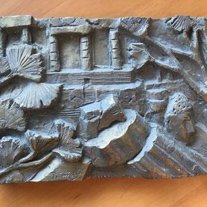 Gipsrelief signiert von 1988  1  Dim.: 36x25cm