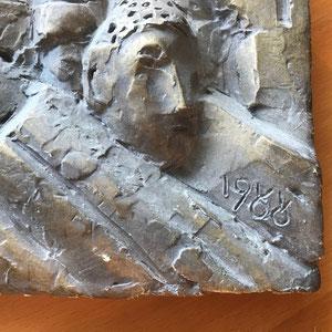 Gipsrelief signiert von 1988  3   Dim.: 36x25cm