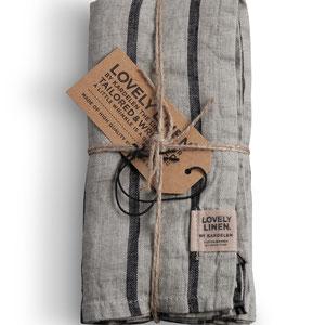 Lovely Linen: Napkins Striped Black