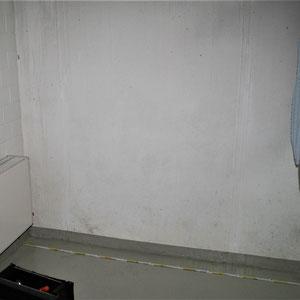 Schimmel an den Wänden eines Wasch- und Trockenraums im Untergeschoss