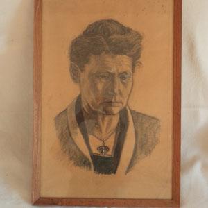 Die Mutter Martha Furrer-Riedel, Kohlezeichung 1924 von Heinrich Furrer (Bruder des Komponisten, 1905-1979)