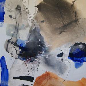 """""""Segelgeschichte"""", 100 x 80, Pigment, Papier, Tusche, Leinwand"""