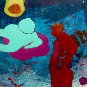 """""""Kosmonaut"""", 30x26.3cm, Acryl+Oel auf MDF"""