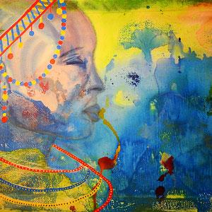 """dreaming masai"", 2015, 50x70cm, acrylic on canvas, alexandra benesch"