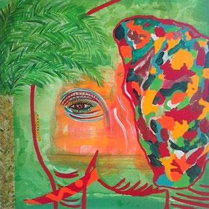 """african ear"", 2015, acryl on canvas,70x70 cm alexandra benesch"
