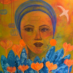 """golden cage"", 2015, 100x80 cm, acrylic on canvas, alexandra benesch"