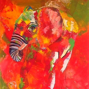 """little elefant"", 2015,  acrylic on canvas, 100x80 cm, alexandra benesch"