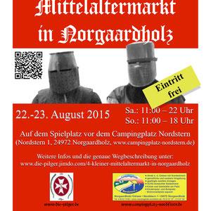"""Plakat vom """"4. kleiner Mittelaltermarkt in Norgaardholz"""" (farbig)"""