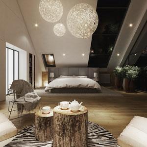Projekt wnętrza sypialni na poddaszu w Pleśnej