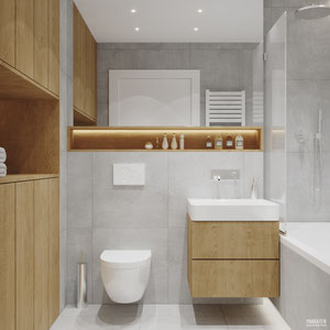 Projekt wnętrza łazienki z akcentami drewna i betonu