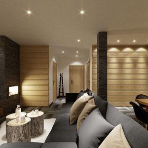 Projekt wnętrza apartamentu w Zakopanem