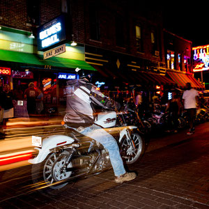 not easy to capture the bikes (Beale Street Memphis)