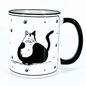 Tasse mit Katze und Spruch: Glück ist, dass es dich gibt. Glückstassen von UKo-Art