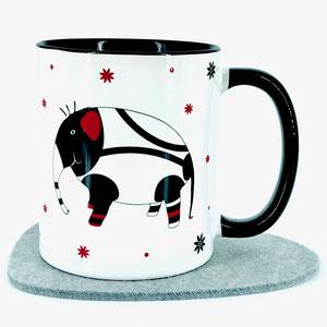 Tasse mit Elefant und Spruch: Glück ist, dass es dich gibt. Glückstassen von UKo-Art