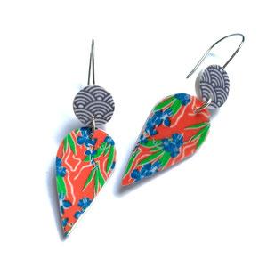 orange patterned earrings