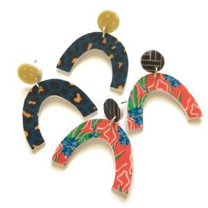 arch stud earrings leopard print