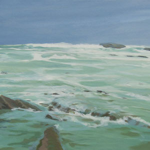 Waters of Biarritz. 90x40cm . Acrylic on canvas.