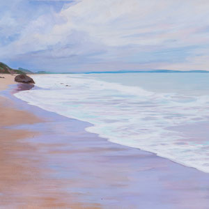 La playa de Merón. Acrílico sobre papel .