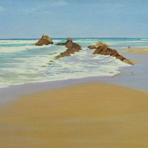 Luz en la playa de Merón. Santander.130x65cm. Acrílico y óleo sobre lienzo.