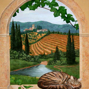 Tuscan Mural Trompe l Oeil Style 3' x 4'