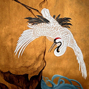 Oriental Crane  - Acrylic on Linen