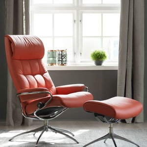 ekornes stressless red recliner and ottoman