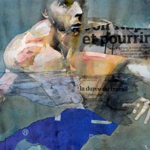 BRUCE CLARKE - La durée du travail - 2014 - Aquarelle, encres, collages, encadrement sous-verre - 50 x 65 cm - REF. N°219 - Prix sur demande