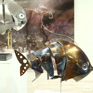 Mathias SOUVERBIE - PETIT GNIAC - Réf galerie 246 - Dimensions : 22 x 16 x 46 cm - Inox, marbre noir, laiton / Mobile - DISPONIBLE
