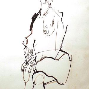 Serge Labegorre - Dessin sur papier N°9 - Réf. 51 -  53 cm x 63 cm (vertical) - Encadrement bois noir sous verre et passe-partout blanc - Oeuvre unique - Prix sur demande.