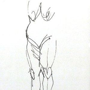 Serge Labegorre - Dessin sur papier N°3 - Réf. 45 - 30 cm x 40 cm (vertical) - Encadrement bois noir sous verre et passe-partout blanc - Oeuvre unique - Prix sur demande.