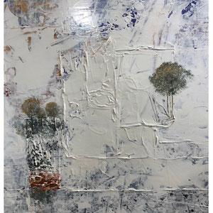 De Olea - Atmosphère 21 - 68 cm x 57 cm - Réf. 285 - Acrylique sur toile - Encadrement baguette noire caisse américaine - 530 Euros