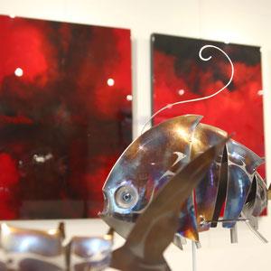 Mathias SOUVERBIE - GNIAC - Réf galerie 236 - Dimensions : 42 x 31 x 55 cm - Inox, marbre noir, laiton / Mobile - DISPONIBLE