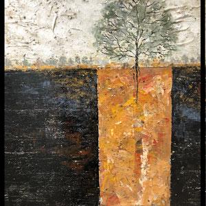 De Olea - Atmosphère 20 - 80 cm x 67 cm - Réf. 284 - Acrylique sur toile - Encadrement baguette noire caisse américaine - 650 Euros