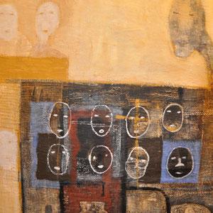 PAPISKO KUDZI - LES ENFANTS DE RUES - OEUVRE ORIGINALE - Dimensions : 195 cm de hauteur x 170 cm de largeur - Acrylique sur toile (double entoilage) - Toile libre (pas sur châssis). A fixer sur un mur ou à faire tendre sur châssis.