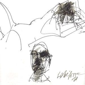Serge Labegorre - Dessin sur papier N°4 - Réf. 46 - 30 cm x 40 cm (vertical) - Encadrement bois noir sous verre et passe-partout blanc - Oeuvre unique - Prix sur demande.