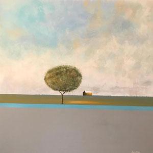 De Olea - Le refuge - Réf. 289 - Acrylique sur toile - 100 cm x 100 cm - Châssis 3D - Prix : 1100 Euros