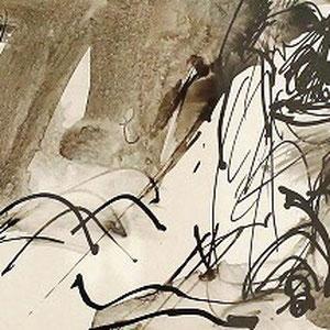 Serge Labegorre - Dessin sur papier N°6- 41 cm x 21 cm (horizontal) - Encadrement bois noir sous verre et passe-partout brun - Oeuvre unique - Prix sur demande.