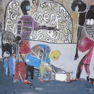 Joël Mpah Dooh - Nous sommes tous des artistes - 79 x 75 cm - Année 2014 - Acrylique sur toile - Encadrement caisse américaine baguette noire - Prix sur demande