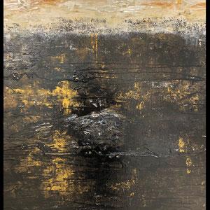 De Olea - Rythme 201 - 67 cm x 87 cm - Réf. 287 - Acrylique sur toile - Encadrement baguette noire caisse américaine - 750 Euros (peut être présentée en dytique avec la référence 286)