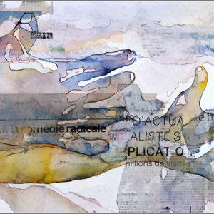 BRUCE CLARKE - Comédie radicale - 2017 - Aquarelle, encres, collages, encadrement sous-verre - 50 x 75 cm - REF. N°216 - Prix sur demande