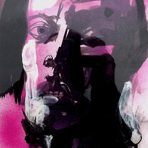 Serge Labegorre - Dessin sur papier N°7 - Réf. 47 - 33 cm x 43 cm (vertical) - Encadrement bois clair sous verre et passe-partout blanc - Oeuvre unique - Prix sur demande.