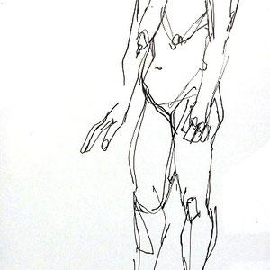 Serge Labegorre - Dessin sur papier N°2 - Réf. 44 - 30 cm x 40 cm (vertical) - Encadrement bois noir sous verre et passe-partout blanc - Oeuvre unique - Prix sur demande