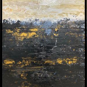 De Olea - Rythme 201 - 67 cm x 87 cm - Réf. 286 - Acrylique sur toile - Encadrement baguette noire caisse américaine - 750 Euros (peut être présentée en dytique avec la référence 287)